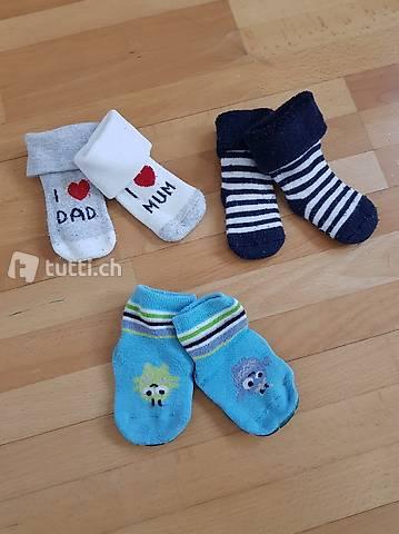 3 Baby-Socken ca. 50-62