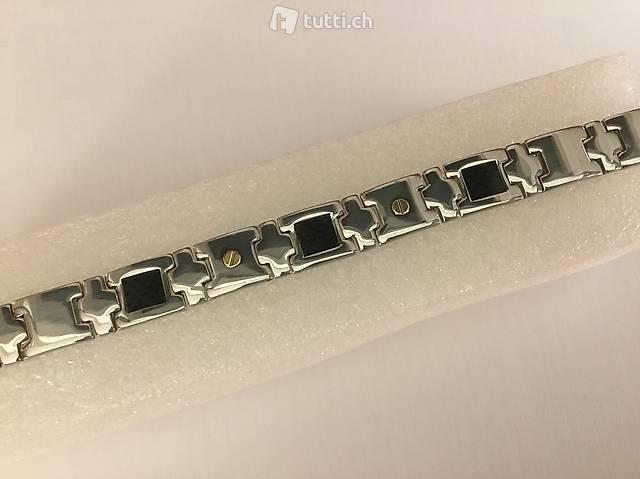 Armband Edelstahl Steel Carbon 18k Gold 21cm