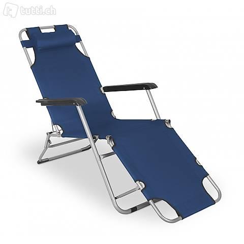 Sedia a sdraio da campeggio (blu) (Consegna gratuita)