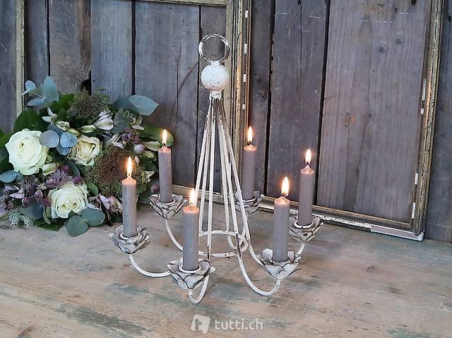 Kerzenhalter für 6 Kerzen Landhaus, NEU OVP