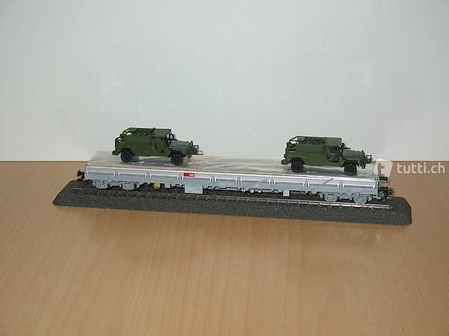 """Märklin 47068 Niderbordwagen mit zwei Serval der SBB /""""NEU/"""" mit OVP"""