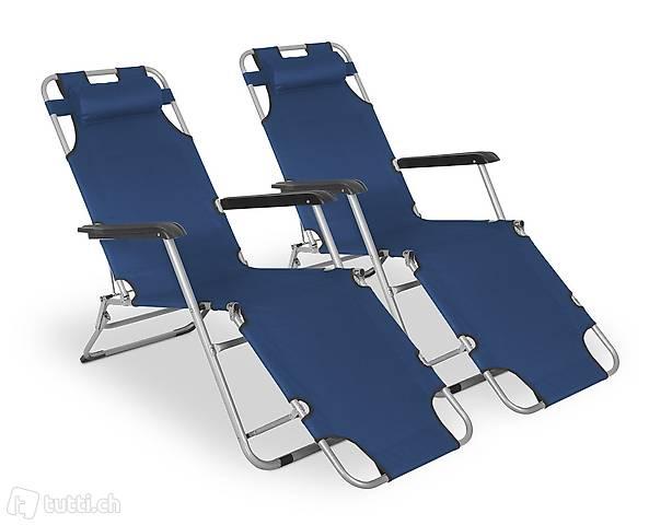Sdraio sedia da campeggio blu set di (Consegna gratuita)