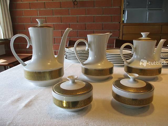 58-tlg Porzellan-Service Winterling Gold 70er Lifestyle Krug