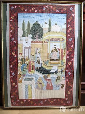 India, grande Batik Moghul dipinto a mano.