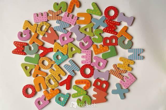 Holz Magnetbuchstaben Set à 60 Teile
