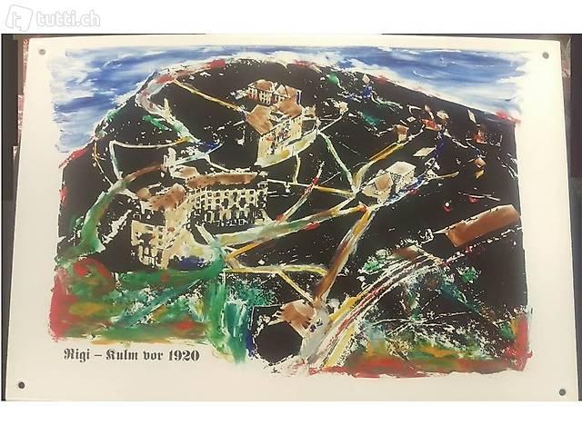 Emaille-Bild Nr. 1  Rigi - Kulm
