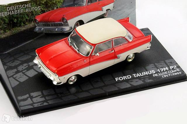 Ford Taunus 17M P2 Deluxe Coupe rot-weiß 1:43 Ixo//Altaya Modellauto