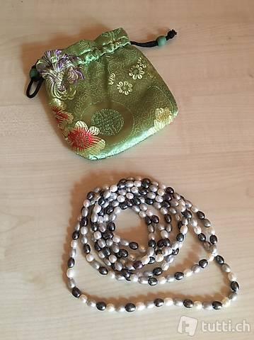 Echt-Perlenkette gemischt lang