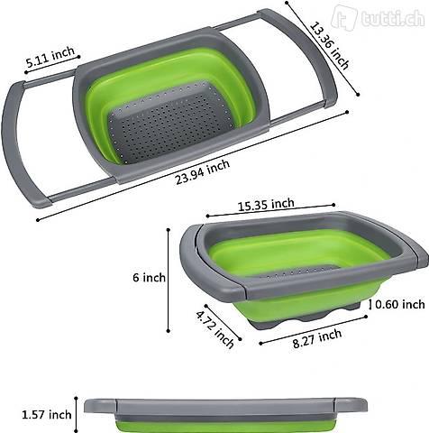 Scola pasta Colino in silicone pieghevole verde