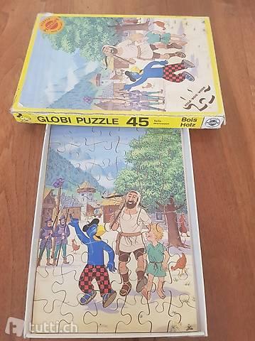 Globi und Wilhelm Tell Holz Puzzle vintage