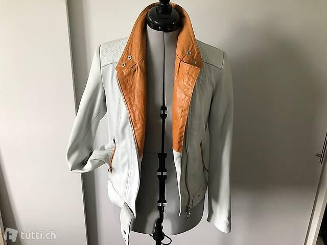 Lederjacke weiss aus feinstem Leder Gr. 36