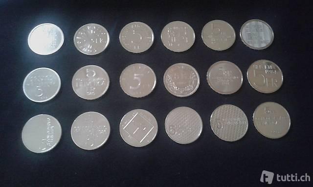 18 Gedenkmünzen 5 Franken (Cu-Ni) 1974-1990 Swissmint