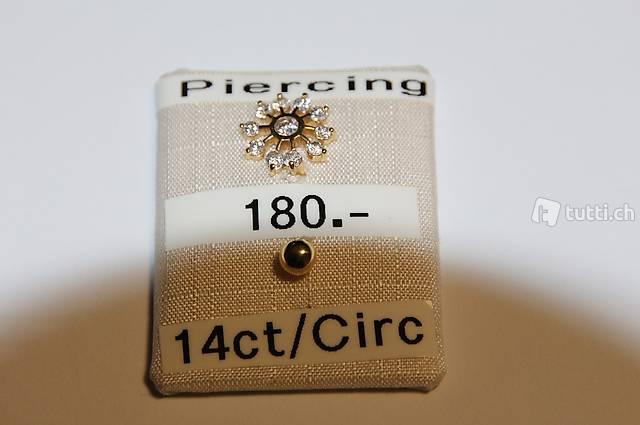 Bauchnabel-Piercing 14ct Gelbgold/Zirkon