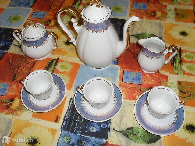 Servizio da 4 caffé, ceramica, bordo dorato