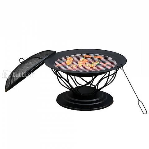 Feuerschale Feuerkorb mit Grill und (Gratis Versand) 4
