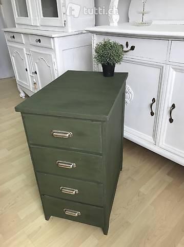 Antik Schubladenstock Kommode dunkelgrün shabby chic Tanne