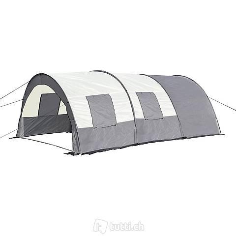 Campingzelt Tunnelzelt, grau (Gratis Versand)