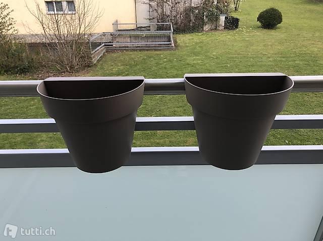 Blumenkübel für Balkongeländer, Pflanzenkübel, sand, natur