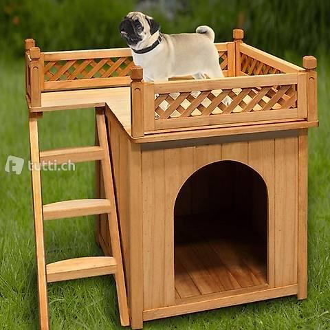 Hundehütte Hundehaus mit Balkon (Gratis Lieferung)