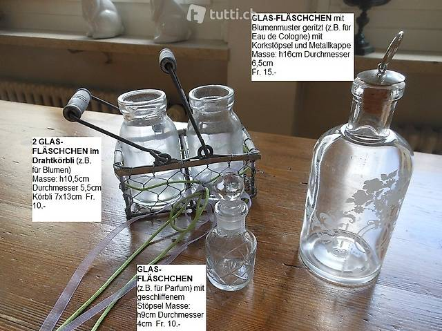 Div. GLAS-FLÄSCHCHEN geritzt zu verkaufen