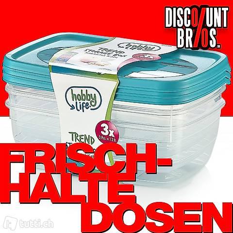 3 × 1,2 Liter Frischhaltedosen VORRATSDOSEN SET Aufbewahrung