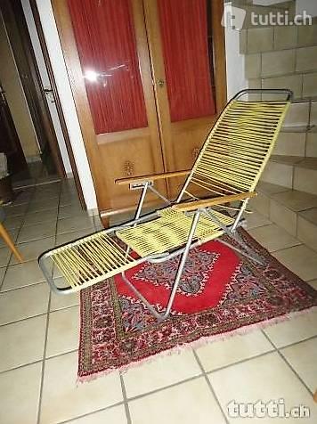 Schweizer  Spaghetti - Stuhl,   Liegestuhl,  alt und antik,