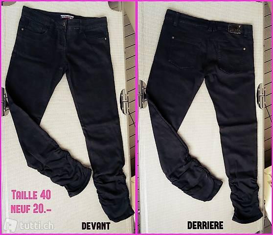 Pantalon jeans femme noir - Neuf - taille 40 - original