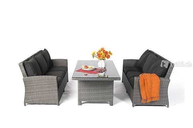 Rattan Lounge Dining Set grau