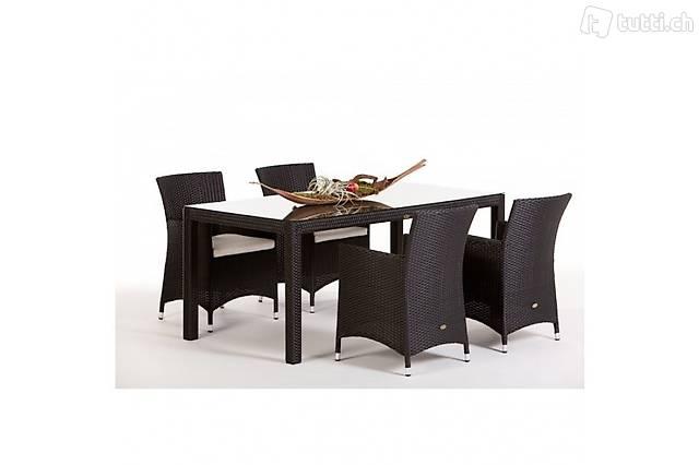 Rattan Tischset 180cm / 4 Stühle