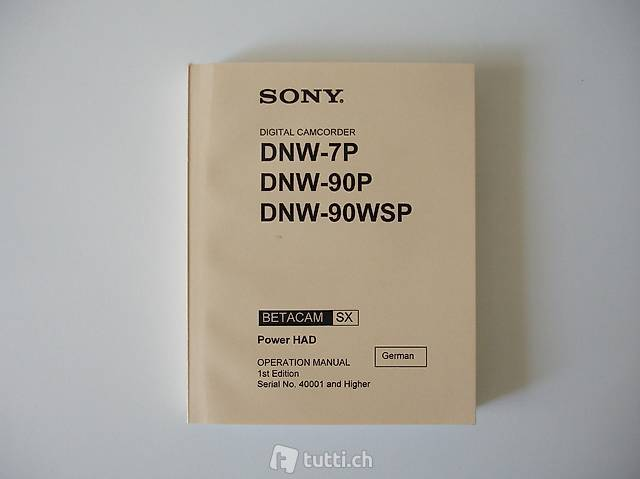 Manual: Sony Digital Camcorder DNW-7P/DNW-90P/DNW-90WSP