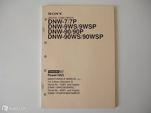 Maintenance Manual: Sony Camcorder DNW-7P/DNW-90P/DNW-90WSP