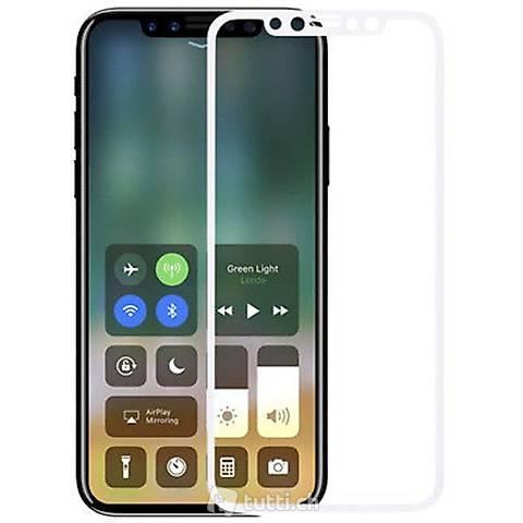 Portofrei FULLWeiss Iphone X  Panzer glas Folie NEU