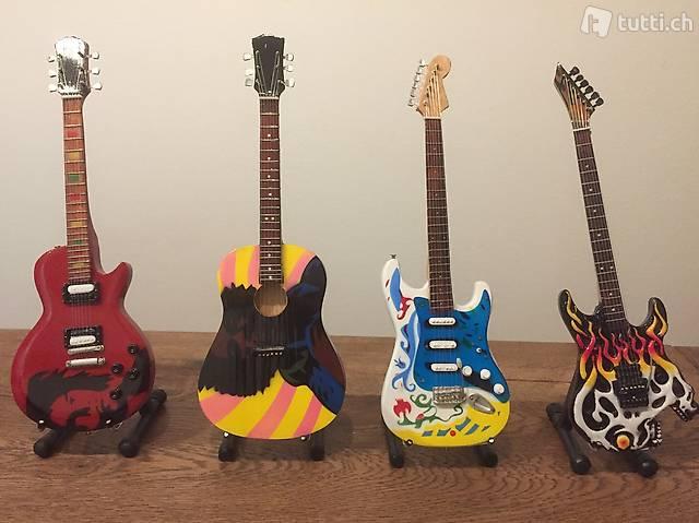 Handarbeit Holz Miniature Gitarre Neu