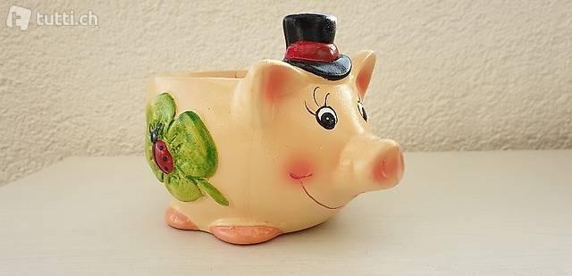 Glücksschwein Übertopf Keramik Ton bemalt