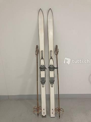 Ski, alte Holzski, Militär, ca. 185 cm