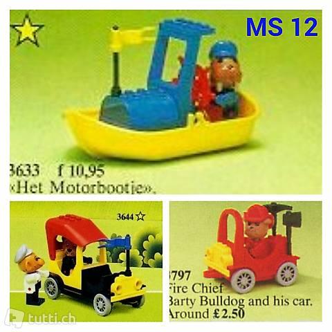 Lego 3x Fabuland Set 12 Motorboot, Feuerwehr