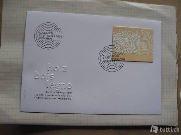 Briefmarken Holzbriefmarke Ersttagsbrief