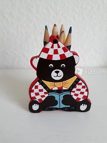 Kinder-Farbstifte mit Farbstifthalter-Bär