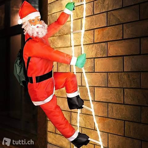 Weihnachtsmann auf Leiter   XXL 240cm