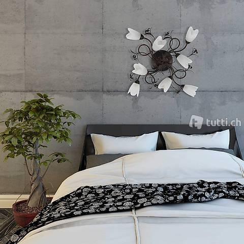flammig Florentiner Stil Antik braunes Metall Glas Landhausstil H77cm exkl E14 8x60W 230V Elegante Deckenleuchte 8