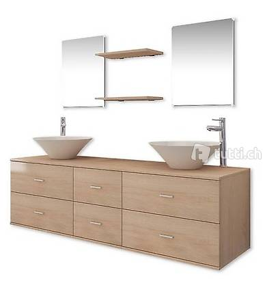 9-tlg. Badmöbel-Set mit Waschbecken und Wasserhahn Beige