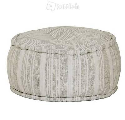 Sitzpuff Rund Baumwolle mit Muster Handgefertigt 50x25 cm G