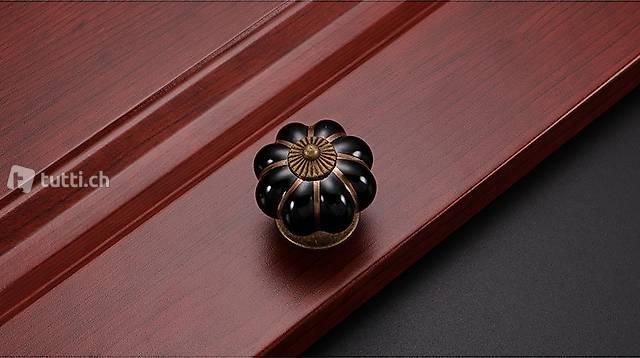 Portofrei 2 stück schwarz Möbel Keramik Durchm.4cm