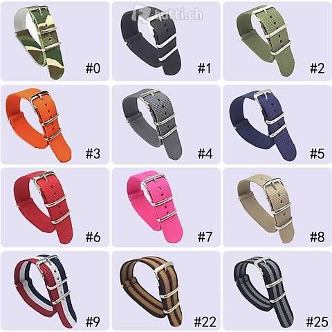 Diverse NATO Strap Uhrenband neu 18 20 22 24 neu