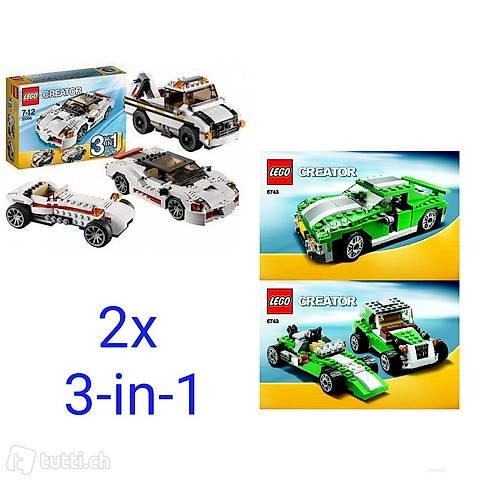 Lego 2x Creator 3-in-1 Auto grün und weiß