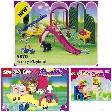 Lego 3x Belville: Spielplatz, Babyzimmer, Frisiertisch
