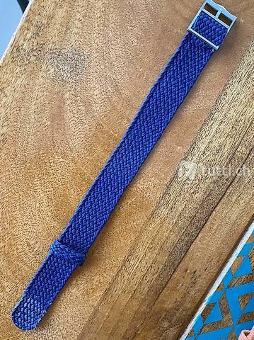 Perlon NATO Strap Uhrenband blau Navy 22 mm