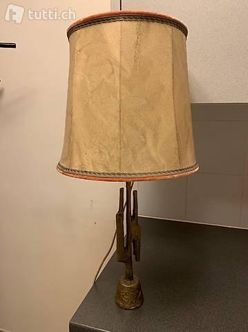 Lampe de table en bronze et parchemin