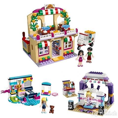 Lego 3x Friends: Pizzeria, Schlafzimmer, Bühne