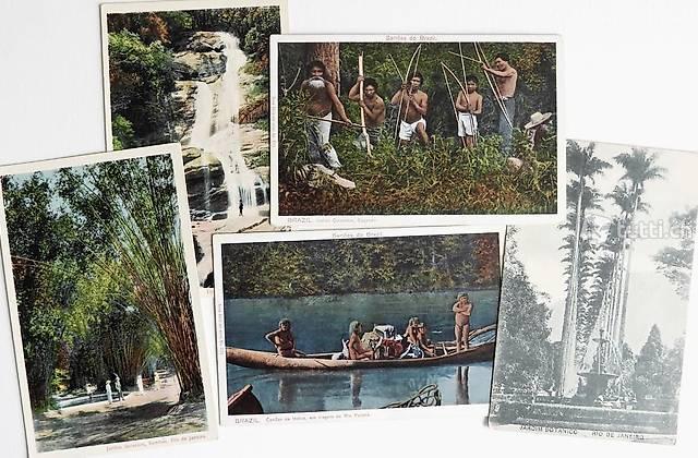 5 historische Postkarten 1920er Jahre, Brasilien